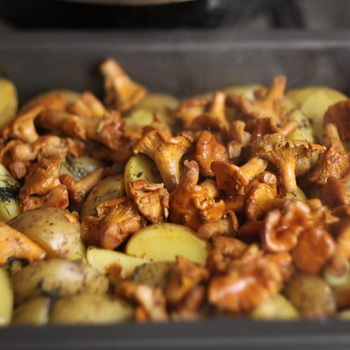 Мясо с картошкой и лисичками в духовке
