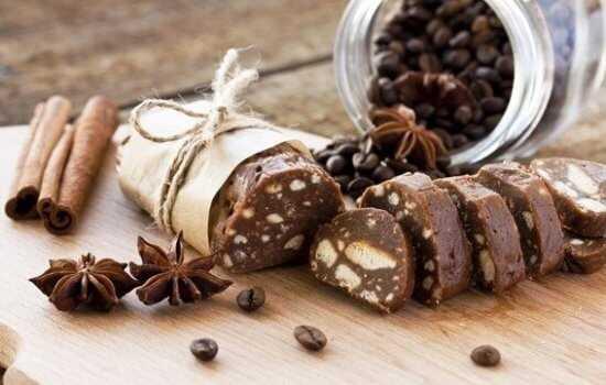 Рецепт шоколадной колбасы с изюмом — 6